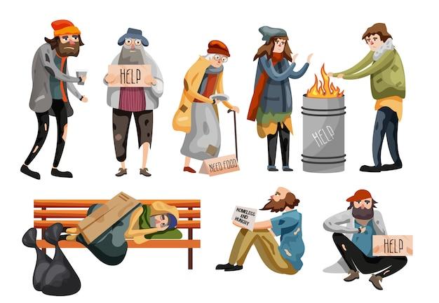 ホームレスの人々の漫画。失業者 Premiumベクター