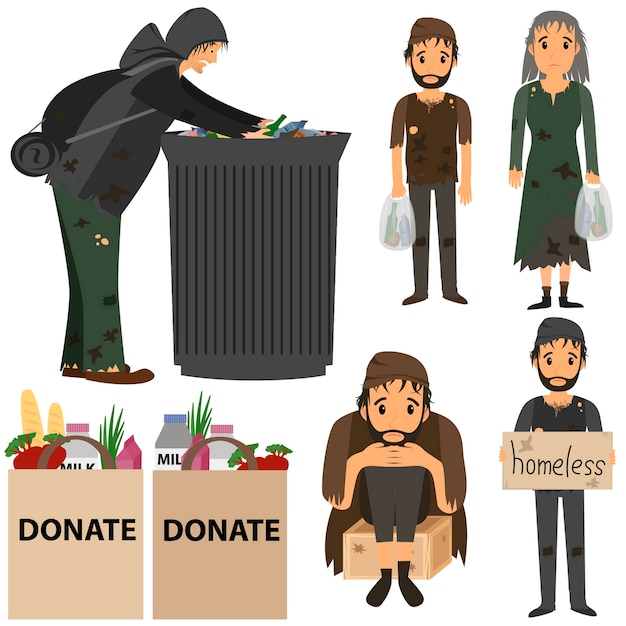 Homeless people collection. homeless in street. homeless in trash. Premium Vector