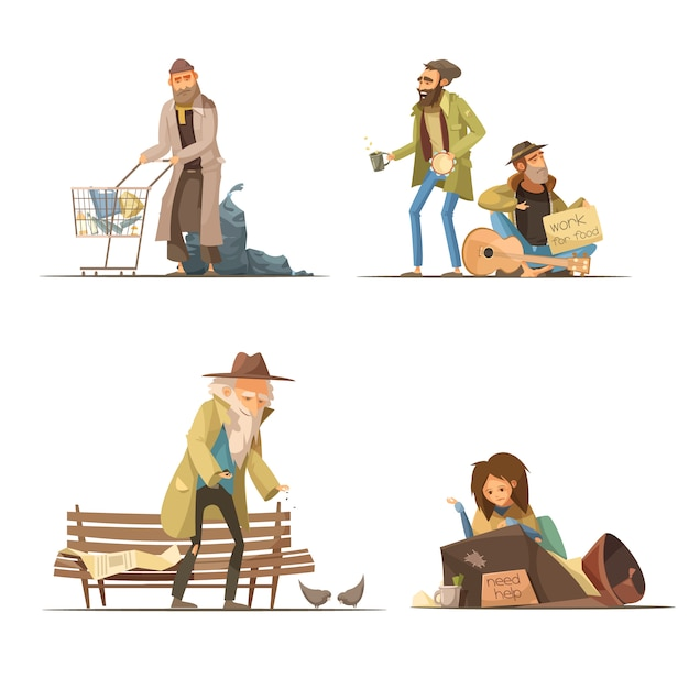 Homeless people compositions with trash elderly person woman Free Vector