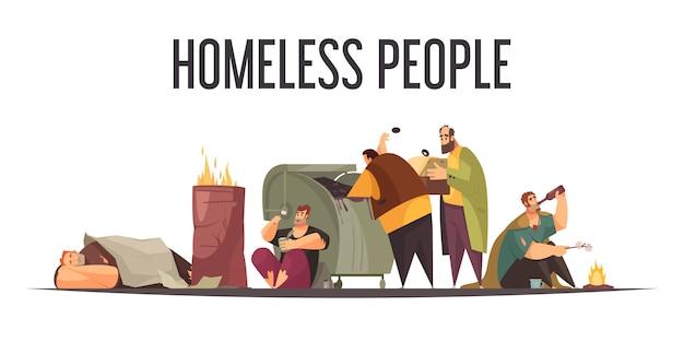 ホームレスの人々が大きなゴミ箱から食品ボトルを収集し、寝ている屋外フラット漫画組成 無料ベクター
