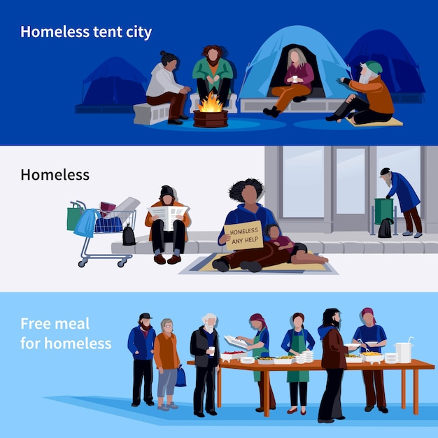 Homeless people horizontal banners Free Vector