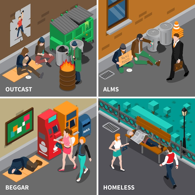 Homeless people isometric design concept Free Vector
