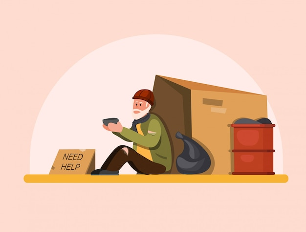 Homeless people need help, poor old man sitting in street waiting people to help. cartoon flat illustration Premium Vector