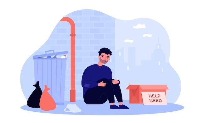 ボックスの図の近くの通りに座っているホームレスの貧乏人。ゴミ箱の近くの漫画の絶望的、汚いと空腹の人。慈善とニーズのコンセプト Premiumベクター