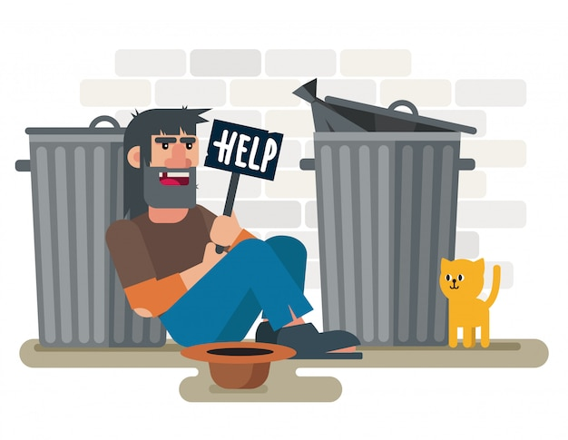 Homeless sad poor man sits on the ground near garbage containers with with help plate and cat   illustration Premium Vector