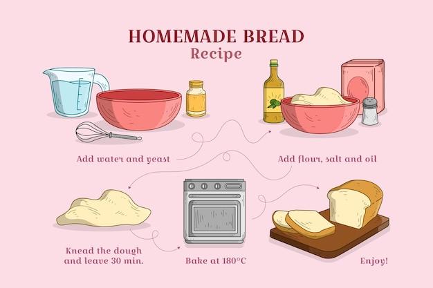 Ricetta del pane fatto in casa Vettore gratuito