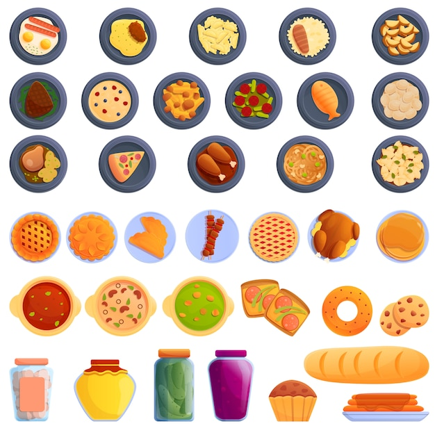 Homemade food icons set, cartoon style Premium Vector