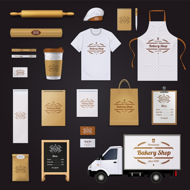 Homemade quality bakery shop corporate Free Vector