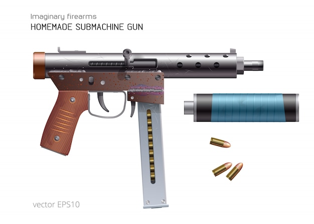 Homemade sub-machine gun. vector realistic weapon. rough and rusty automatic firearm and 9mm rounds. improvised silencer is bandaged with a blue duct tape. Premium Vector