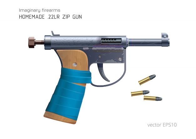 自家製の「ジップガン」と22lr弾薬。現実的なベクトル画像。安価な即興のディテールで作られた小口径ピストル。青いダクトテープ付きの粗い木製グリップ。変なその場しのぎの拳銃。 Premiumベクター