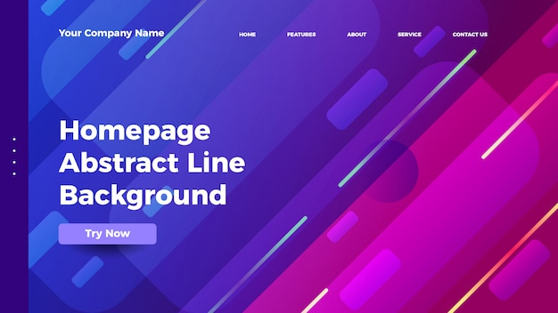 Homepage abstract line background. gradient landing page template Premium Vector
