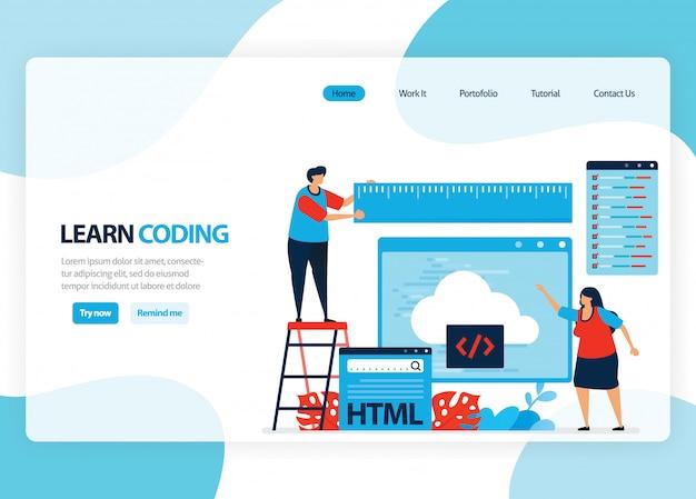 プログラミングとコーディングを学習するためのホームページ。シンプルなプログラミング言語によるアプリケーション開発。フラット図 Premiumベクター