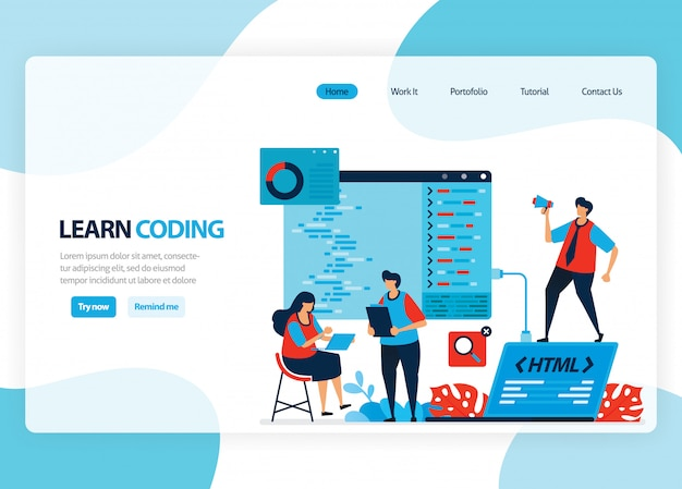 Homepage for learning programming and coding. application development with a simple programming language. flat illustration Premium Vector