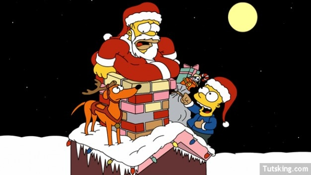 Homer and Bart Simpsons christmas vector Vector | Free Download