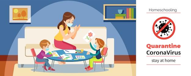 Коронавируса. останься дома. homeschooling. мама и дети рисуют в игровой комнате, надев защитную маску во время самостоятельного карантина коронавируса. мультфильм иллюстрация Premium векторы