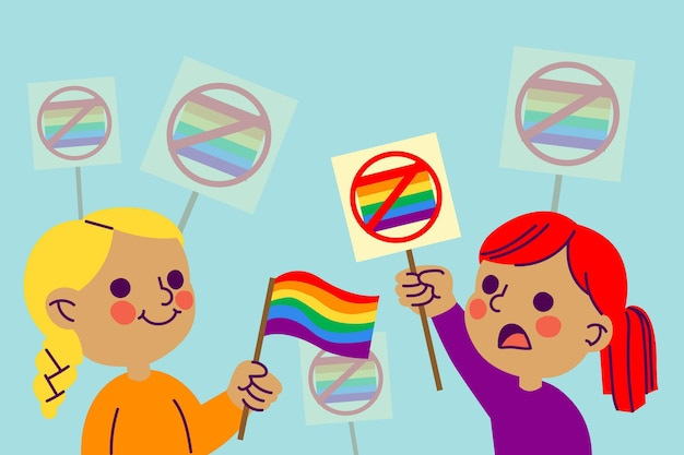 Homophobia concept with flag Free Vector
