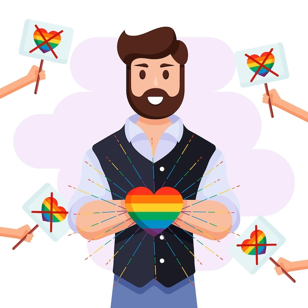 Homophobia concept with man holding rainbow heart Free Vector