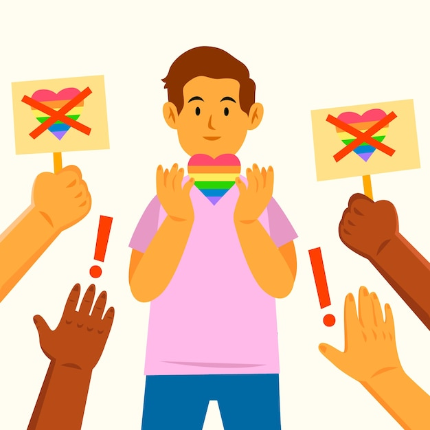 Homophobia illustration concept Free Vector