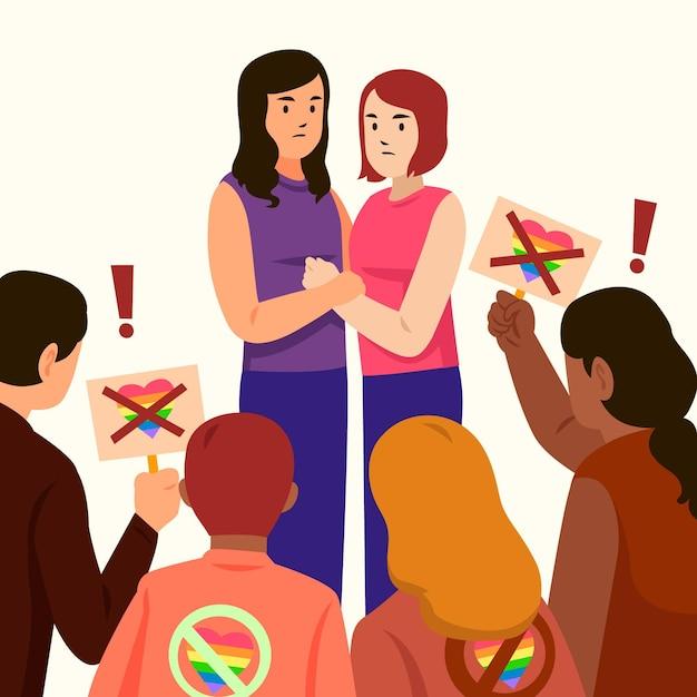 Homophobia illustration concept Free Vector