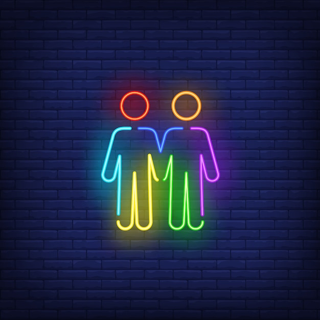 Homosexual male couple neon sign Free Vector
