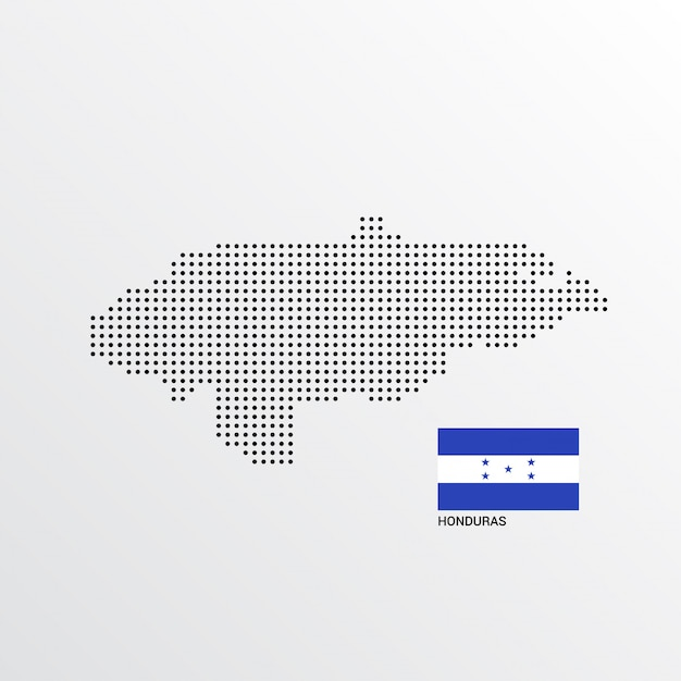 Honduras map design with flag and light background vector Free Vector