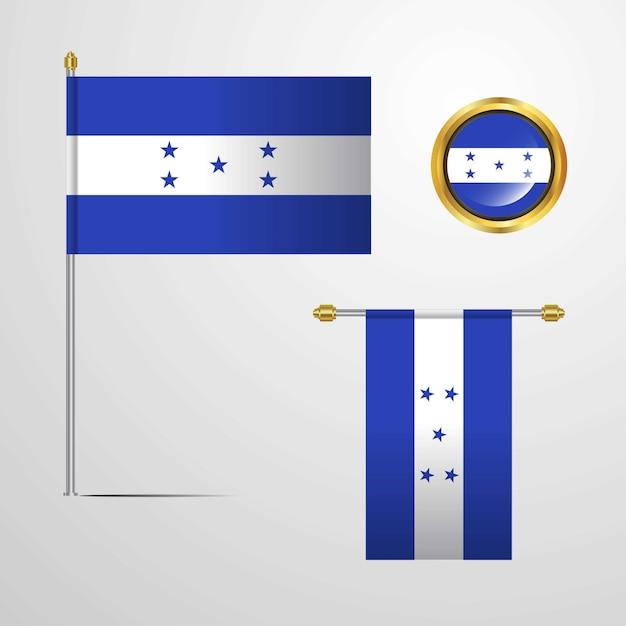Honduras waving flag design with badge vector Free Vector