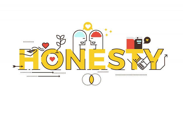 Honesty word lettering typography design illustration Premium Vector
