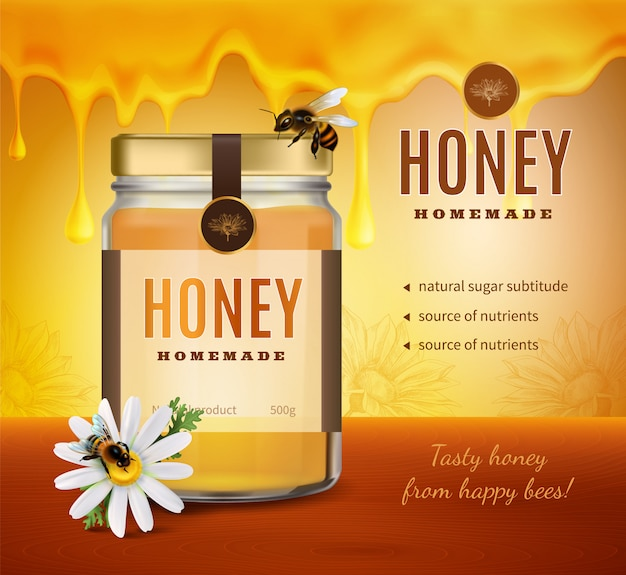 Honey advertising composition with realistic image of product packaging bottle with brand name and editable text Free Vector