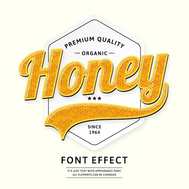 Honey badge or logo type product script font Premium Vector
