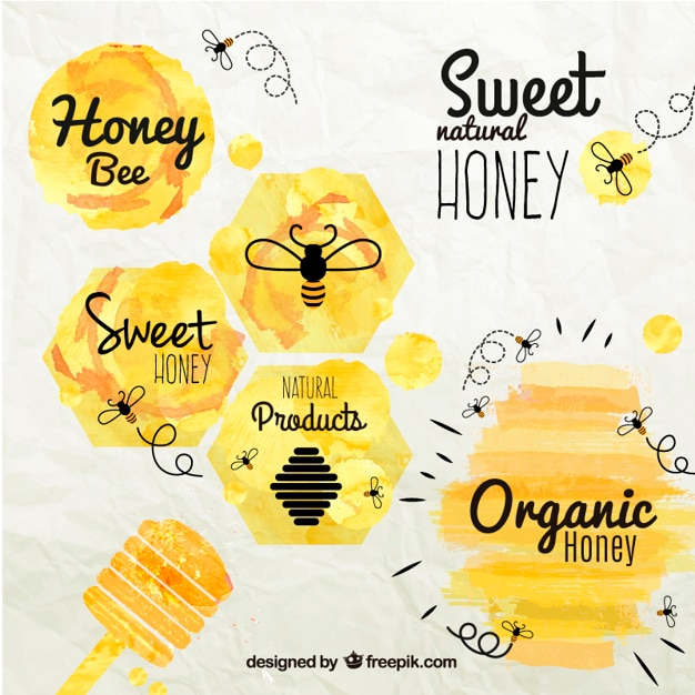 Honey badges in watercolor style Free Vector