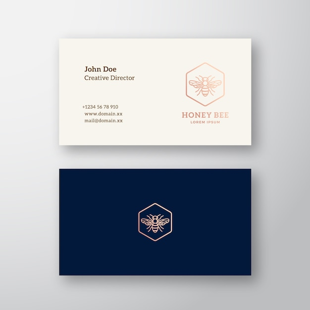 Honey bee abstract elegant logo and business card Free Vector