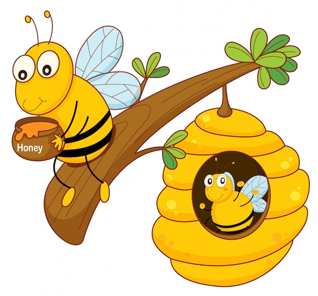 Honey bee and comb Free Vector