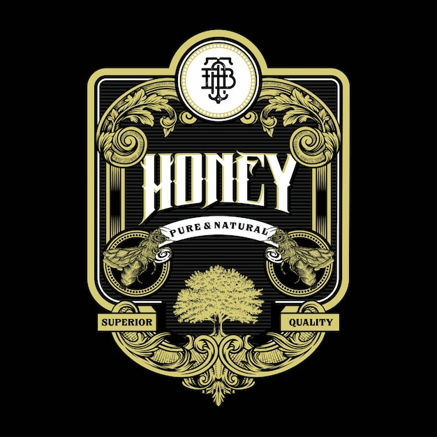 Honey bee illustration vintage label and logo engraving with retro ornament  in antique rococo style decorative design Premium Vector
