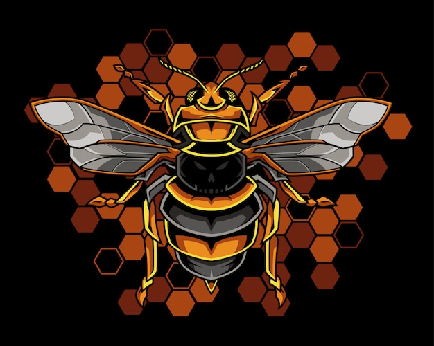 Honey bee illustration Premium Vector