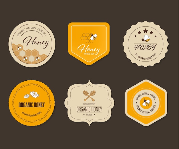 Honey bee label and banner. logo element organic natural product design. Premium Vector