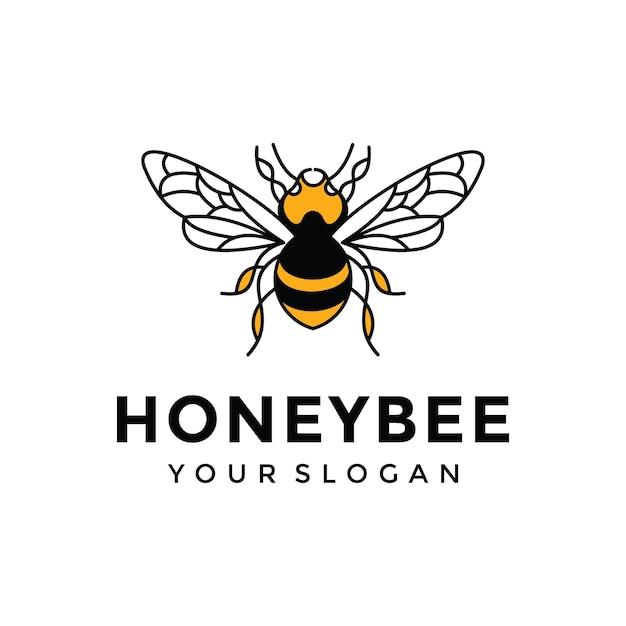 Honey bee logo design inspiration Premium Vector