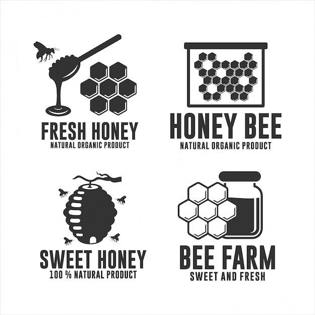 Honey bee натуральный органический продукт Premium векторы