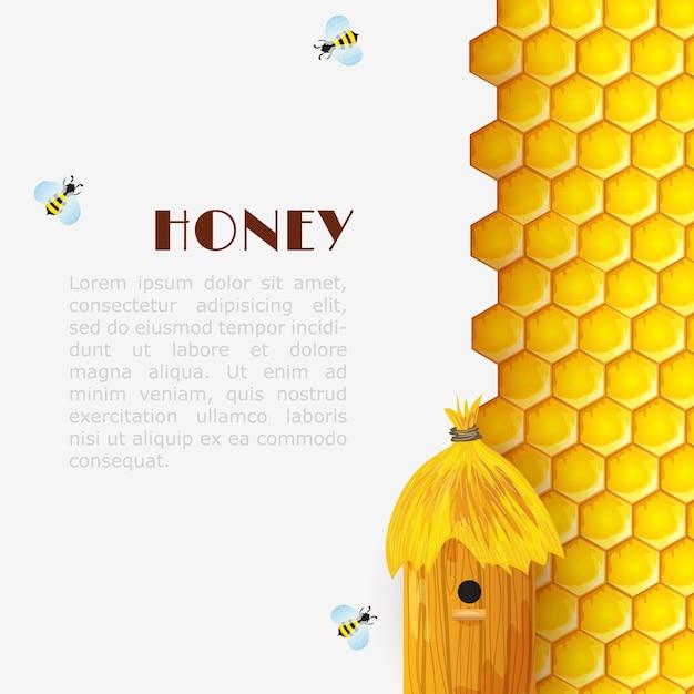 Honey beehive background Free Vector