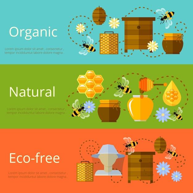 Miele, apicoltura e banner di zucchero ecologico naturale Vettore gratuito