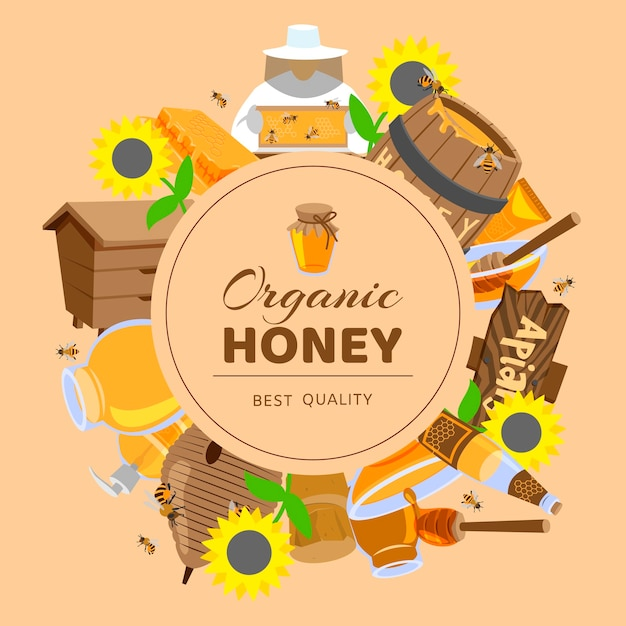 Honey cartoon colored framesunflower, cask, beehive, honeycomb honeybees Premium Vector