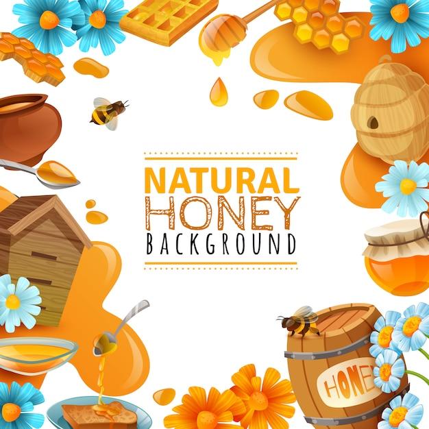 Honey cartoon frame background Free Vector