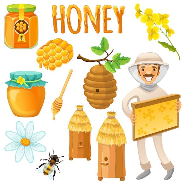 幸せな養蜂家と蜂蜜色と分離のセットは養蜂場のベクトル図で動作します 無料ベクター