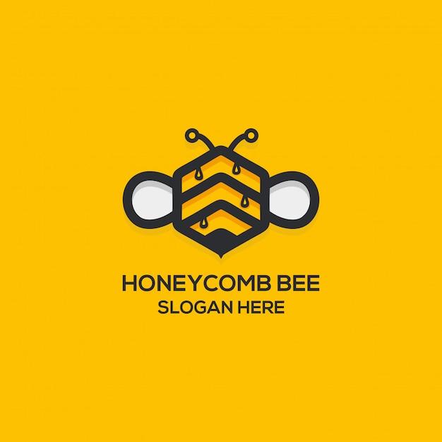 Honey comb logo Premium Vector