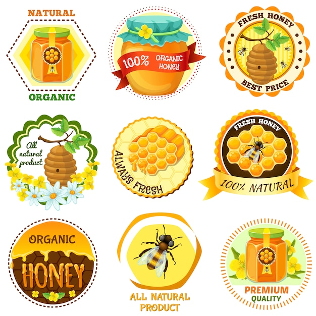 Honey emblem set with descriptions of natural organic fresh honey best price all natural product vector illustration Free Vector