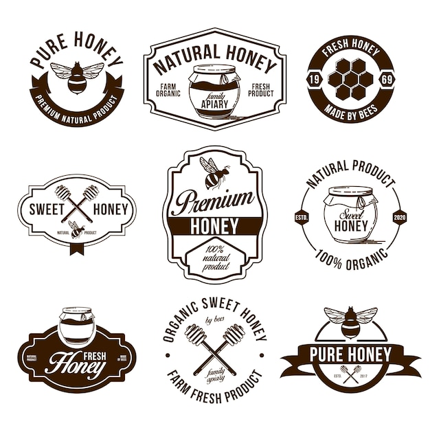 Honey farm flat labels set Free Vector