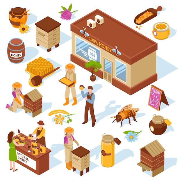 Honey farm изометрические иконы set Бесплатные векторы