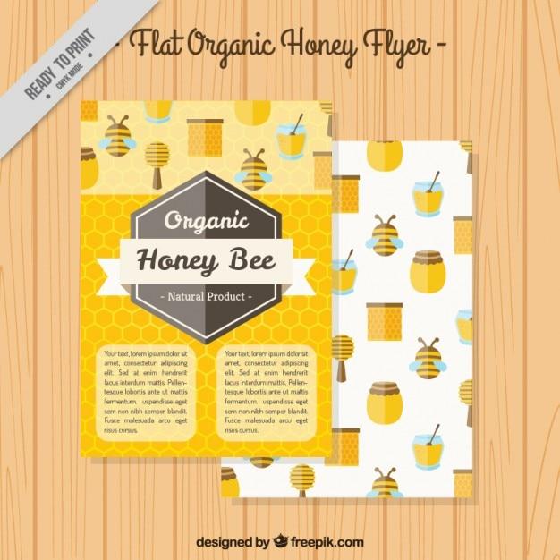 Honey flyer in flat design Premium Vector