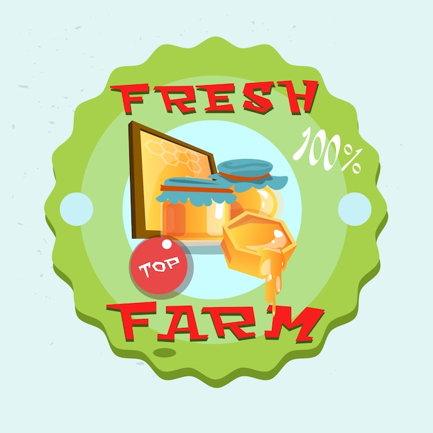 Логотип honey fresh eco farm Premium векторы