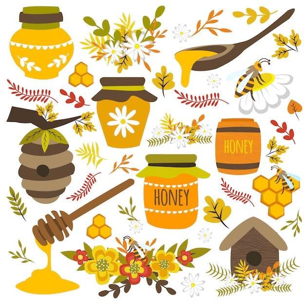 蜂蜜の手描きの要素 無料ベクター