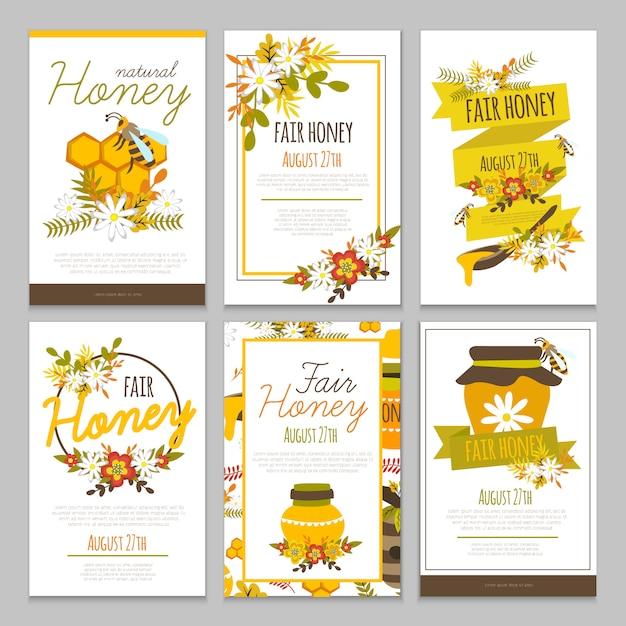蜂蜜手描きポスターコレクション 無料ベクター